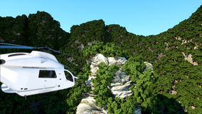 White helicopter flying in Mountains Cliffs with trees. rescuer. 3d rendering. Stock Images
