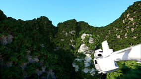 White helicopter flying in Mountains Cliffs with trees. rescuer. 3d rendering. Royalty Free Stock Photo