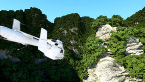 White helicopter flying in Mountains Cliffs with trees. rescuer. 3d rendering. Stock Photo