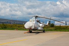 White helicopter on the platform Royalty Free Stock Photography