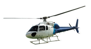 White helicopter with working propeller Royalty Free Stock Photo