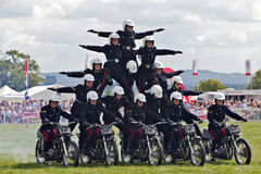 White helmets display team Stock Photo