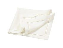 White hemstich napkin. Hemstitched white linen dinner napkin Royalty Free Stock Photos
