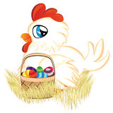 White Hen with Easter Eggs Basket Royalty Free Stock Images