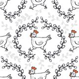 White hen in willow wreath spring Easter seamless pattern Royalty Free Stock Photo