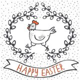 White hen in willow wreath spring holiday Easter card with wishes Royalty Free Stock Photography