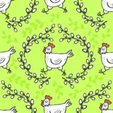 White hen in willow wreath spring holiday Easter pattern on green Stock Photo