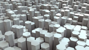White hex land scape. Little landscape made from white hex pillars Royalty Free Stock Photos