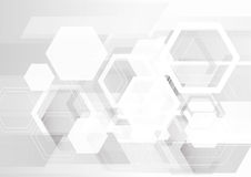 White hexagon abstract background. Futuristic gray interface background Royalty Free Stock Photos