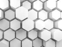 White hexagon blocks on wall, 3d. Abstract blank white interior background with hexagon blocks on wall, 3d render illustration stock illustration