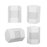 White hexagon box packaging with clipping path Stock Image