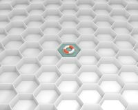 White hexagon cells with Life Saver buoy at the pool water. Concept and idea mockup. White hexagon cells with Life Saver buoy at the pool water. Life ring Royalty Free Stock Image