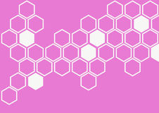 White hexagon on pink background wall pattern Royalty Free Stock Photo