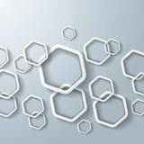 White Hexagon Rings Stock Images