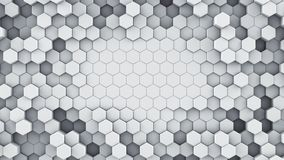 White hexagonal cells abstract 3D rendering. White hexagonal cells. Abstract modern background. Computer generated 3D rendering Vector Illustration