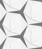 White hexagonal shapes layered seamless pattern Royalty Free Stock Images
