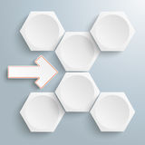 6 White Hexagons Arrow Flowchart Stock Images