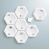 6 White Hexagons 1 Arrow Integration. Infographic with honeycomb structure on the grey background Royalty Free Stock Photos