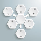 6 White Hexagons 3 Arrows Infographic Stock Photography