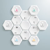 6 White Hexagons Cycle Businessmen Stock Image