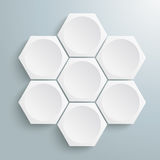 6 White Hexagons Cycle Stock Image