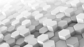 White hexagons extruded chaotic 3D render. White hexagons extruded chaotic. Modern 3D render illustration with soft shadows. Abstract geometric background Royalty Free Stock Photo