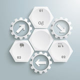 3 White Hexagons 3 Gears Cycle Arrows. Infographic with honeycomb structure and gears on the grey background Stock Photography