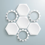 3 White Hexagons 3 Gears Cycle. Infographic with honeycomb structure and gears on the grey background vector illustration