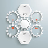2 White Hexagons 5 Gears Cycle Stock Images