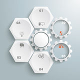 4 White Hexagons 3 Gears Cylce. Infographic with honeycomb structure and gears on the grey background stock illustration