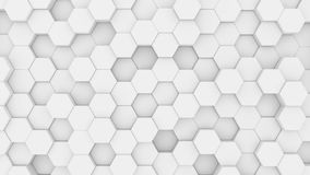White hexagons mosaic. 3D render seamless loop abstract background business