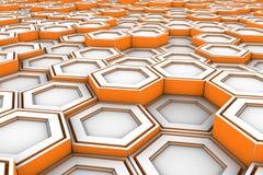 White hexagons with orange glowing sides Stock Photo