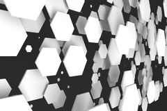 White hexagons of random size on black background Stock Photos