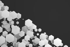 White hexagons of random size on black background Stock Photography