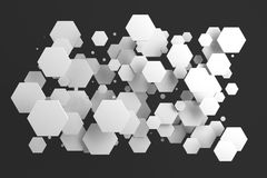 White hexagons of random size on black background Royalty Free Stock Images