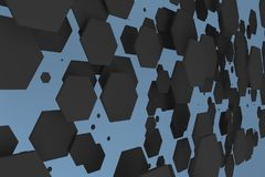 White hexagons of random size on blue background. Abstract background with hexagons. Cloud of hexagons in front of wall. 3D rendering illustration Stock Image