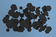 White hexagons of random size on blue background. Abstract background with hexagons. Cloud of hexagons in front of wall. 3D rendering illustration Royalty Free Stock Photos