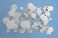 White hexagons of random size on blue background. Abstract background with hexagons. Cloud of hexagons in front of wall. 3D rendering illustration Stock Photography
