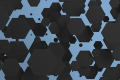 White hexagons of random size on blue background. Abstract background with hexagons. Cloud of hexagons in front of wall. 3D rendering illustration Stock Photo