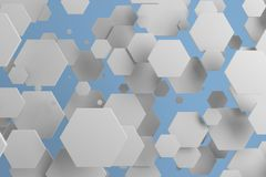 White hexagons of random size on blue background. Abstract background with hexagons. Cloud of hexagons in front of wall. 3D rendering illustration Stock Photos