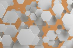 White hexagons of random size on orange background. Abstract background with hexagons. Cloud of hexagons in front of wall. 3D rendering illustration Royalty Free Stock Photo