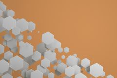 White hexagons of random size on orange background. Abstract background with hexagons. Cloud of hexagons in front of wall. 3D rendering illustration Royalty Free Stock Images