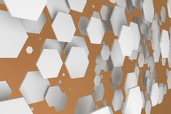 White hexagons of random size on orange background. Abstract background with hexagons. Cloud of hexagons in front of wall. 3D rendering illustration Royalty Free Stock Photos