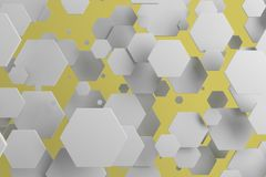 White hexagons of random size on yellow background. Abstract background with hexagons. Cloud of hexagons in front of wall. 3D rendering illustration Stock Photos