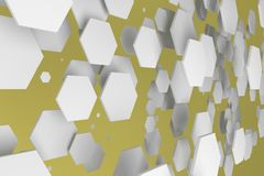 White hexagons of random size on yellow background. Abstract background with hexagons. Cloud of hexagons in front of wall. 3D rendering illustration Royalty Free Stock Photography