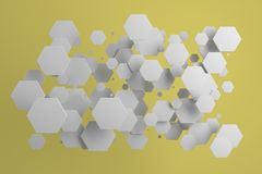 White hexagons of random size on yellow background. Abstract background with hexagons. Cloud of hexagons in front of wall. 3D rendering illustration Royalty Free Stock Images