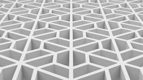 White hexagons shape pattern texture with holes in technology. Architecture structure concept. 3d abstract illustration stock illustration