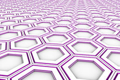 White hexagons with violet glowing sides Stock Image