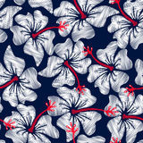 White hibiscus tropical embroidery floral seamless pattern stock illustration