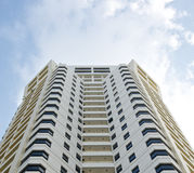 White high building hotel tower residential and sky. In the Bangkok Thailand Stock Photo